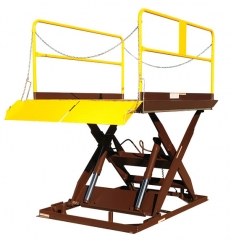 Loading Dock Lift -  Scissor Dock Leveler have capacities ranging from 3,000 to 12,000 lbs. These units can raise to a variety of heights to accommodate trailers.
