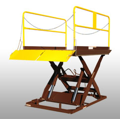 Scissor Dock Lift -  Scissor Dock Leveler have capacities ranging from 3,000 to 12,000 lbs. These units can raise to a variety of heights to accommodate trailers.