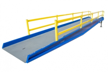 Beacon Brand Pallet Jack Yard Ramp allows loading and unloading with a pallet jack for forklift when no loading dock is available. Unloading or loading a tracktor trailer is now simple with a yard ramp.