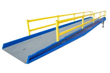 Beacon Brand Yard Ramp allows loading and unloading with a pallet jack for forklift when no loading dock is available. Unloading or loading a tracktor trailer is now simple with a yard ramp.